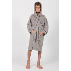 """Подростковый махровый халат на мальчика  Nusa """"King"""" серого цвета"""