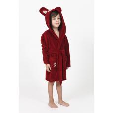 """Детский махровый халат Nusa """"Тигрик"""" бордового цвета"""