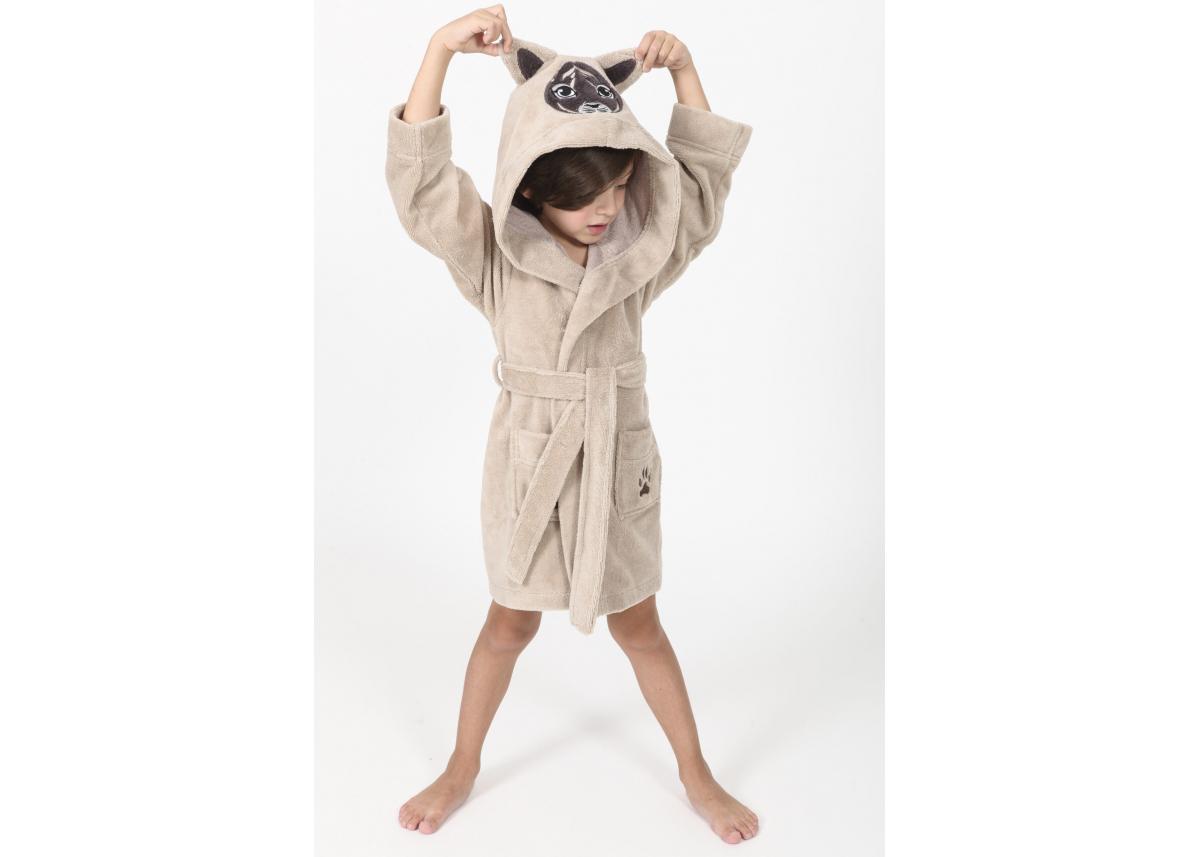 """Детский махровый халат Nusa """"Тигрик"""" бежевого цвета"""