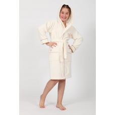 """Подростковый махровый халат на девочку Nusa """"Queen"""" кремового цвета"""