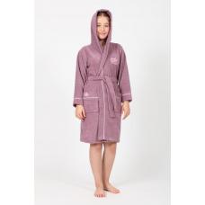 """Подростковый махровый халат на девочку Nusa """"Queen"""" лилового цвета"""