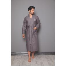 Мужской вафельный халат Nusa №12680 Серый