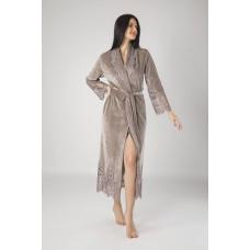 Роскошный женский велюровый халат с кружевом Nusa №0383 Бежевый