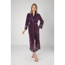Роскошный женский велюровый халат с кружевом Nusa №0383 Сливовый