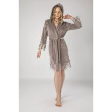 Элегантный женский велюровый халат Nusa №0415 Бежевый