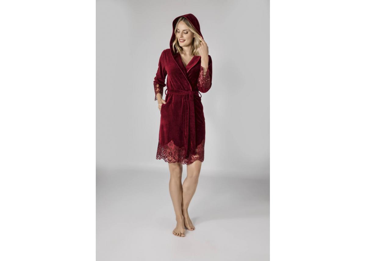 Элегантный женский велюровый халат Nusa №0415 Бордовый