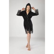 Элегантный женский велюровый халат Nusa №0415 Черный