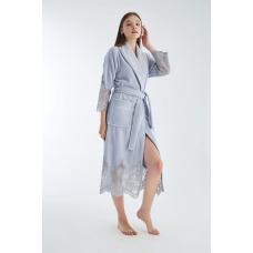 Люксовый женский бамбуковый халат Nusa №4095 Серого цвета