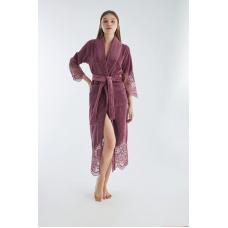 Люксовый женский бамбуковый халат Nusa №4095 Сливового цвета