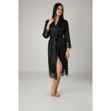 Элегантный женский шелковый халат Nusa № 15060 Черного цвета