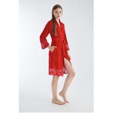 Женский велюровый халат Nusa № 0431 красный