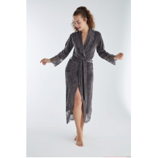 Роскошный женский велюровый халат с кружевом Nusa №0383 Серый