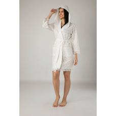 Летний женский халат из хлопка Nusa No 0407 кремового цвета