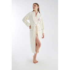 Женский махровый халат Nusa № 4165 Кремового цвета