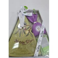 """Подарочный набор Maison D'or """"New Olive""""- махровое полотенце ,мыло и саше"""