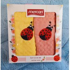 """Набор кухонных вафельных полотенец Mercan """"Божья Коровка"""""""