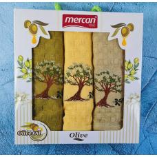 """Набор кухонных вафельных полотенец Mercan """"Оливковое дерево"""""""