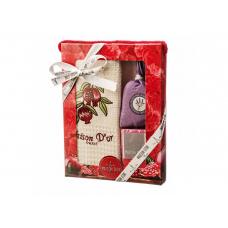 """Подарочный набор Maison D'or """"Trio""""- вафельное полотенце ,мыло и саше"""