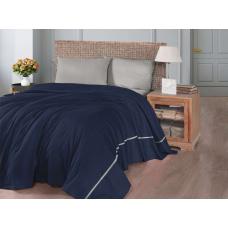 Летнее постельное белье с вафельным покрывалом First Choice SP - 06 Navy Blue