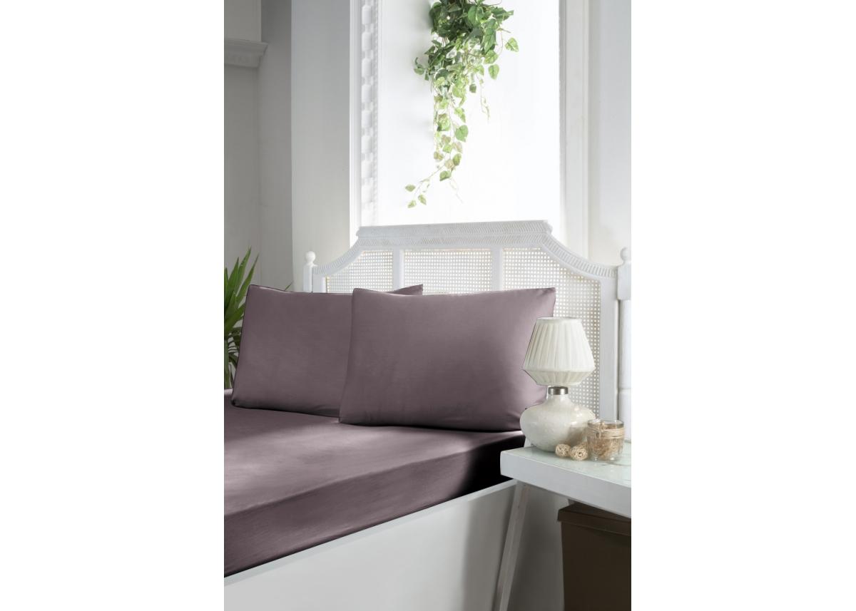Простынь на резинке First Choice сатин - лилового цвета