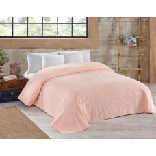Махровая простынь Cotton Area персикового цвета