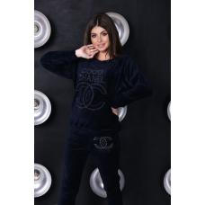 Женский велюровый костюм Coco Shanel синего цвета