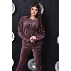 Женский велюровый костюм Good Style шоколадного цвета