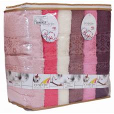 "Хлопковые банные полотенца Vip Cotton 70х140 (6шт) ""Belinay 21"