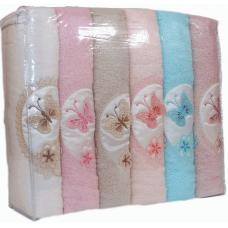 """Хлопковые банные полотенца Rebeka 70х140 """"Бабочки 3D"""" 6 шт."""