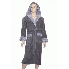 1 Супер плотный мужской пушистый халат Nusa № 2915 серый