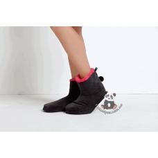 Сапожки пушистые короткие Bellezza (черный с коралловым) №2015