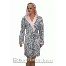 Халат женский махровый короткий с капюшоном  Nusa № 3770