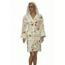 Короткий  пушистый женский халат NUSA № 4045
