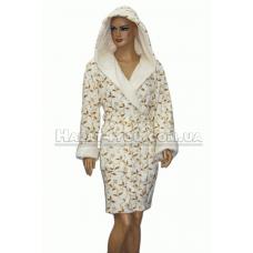 Короткий пушистый женский халат NUSA № 1111