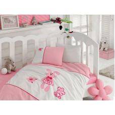 """Детское постельное белье с вышивкой """"Minik Javsan""""- Зайка (Pink)"""