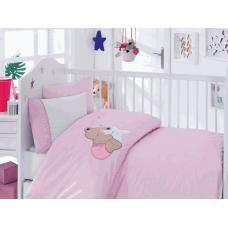 """Детское постельное белье с вышивкой """"Boo""""- Мишка (Pink)"""