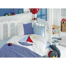 """Детское постельное белье с вышивкой """"Yelkenli""""- Яхта (голубой)"""