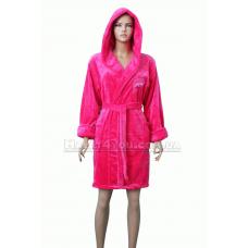 """Короткий пушистый халат с капюшоном """"Дельфин"""" №215"""