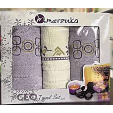 """Набор махровых полотенец Merzuka 2+1(2лицо,баня) """"Узор 2/5"""""""