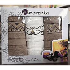 """Набор махровых полотенец Merzuka 2+1(2лицо,баня) """"Узор 2/8"""""""