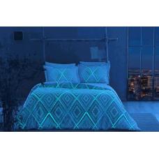 Постельное белье TAC сатин Glow - Gina голубой (светящееся)