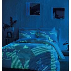 Постельное белье TAC сатин Glow - Izzie Blue (светящееся)